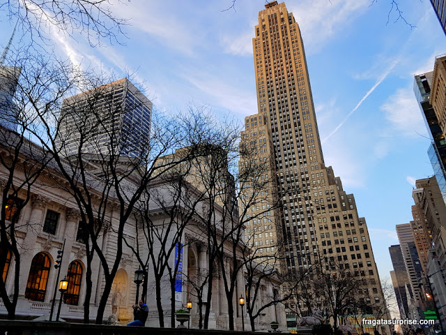 Nova York - Biblioteca Pública e Rockefeller Center, na 5ª Avenida