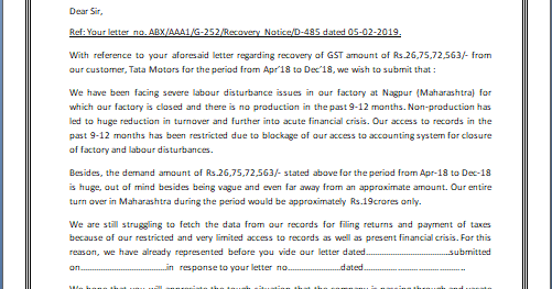Gst Notice Reply Letter Format In Word