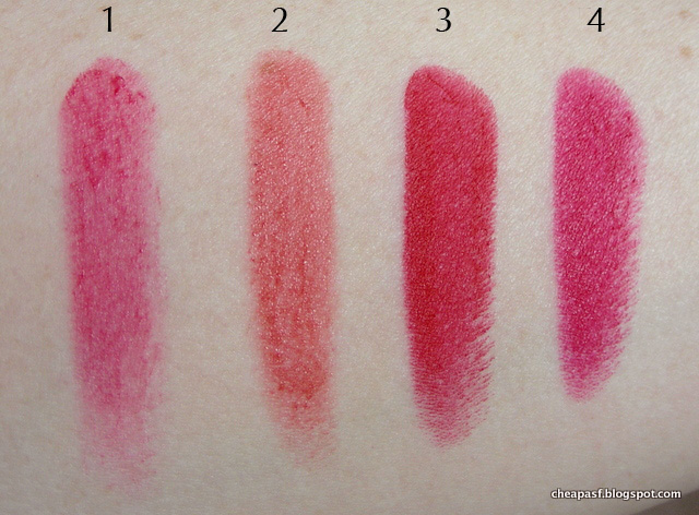 Swatches of 1. Urban Decay Vice Lipstick in Sheer F-Bomb. 2. Revlon Balm Stain in Romantic; 3. NYX Matte Perfect Red; and 4. Revlon Cherries in the Snow.