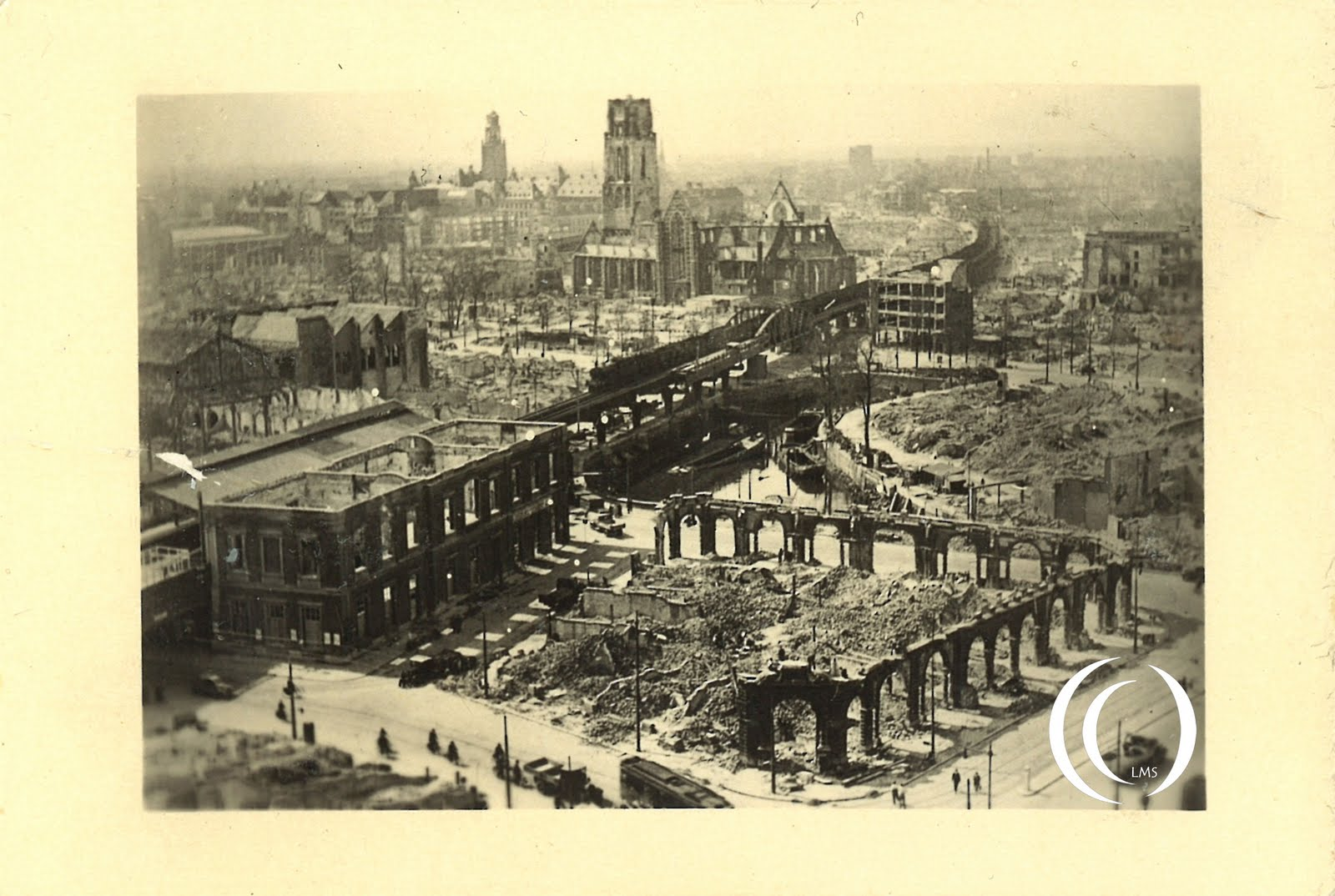 A view from the White House of the destroyed city centre of Rotterdam