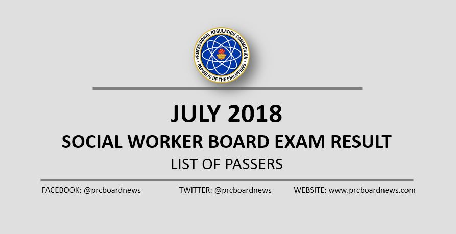 OFFICIAL RESULT: July 2018 Social Worker board exam list of passers