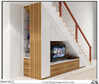 Lemari bawah tangga minimalis woody