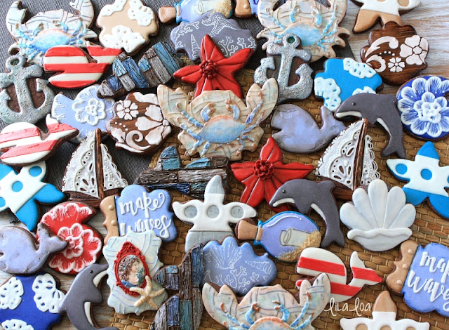 Fancy decorated sugar cookies with a nautical theme