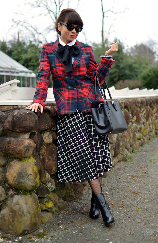 Mixed plaids outfit