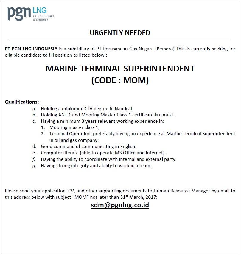 Rekrutmen PNG - Marine Terminal Superintendent (Code : MOM)