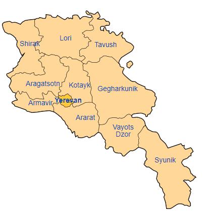 Peta pembagian wilayah administratif Armenia