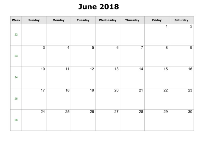 Printable Calendar 2018 Free June 2018 Printable Calendar Blank