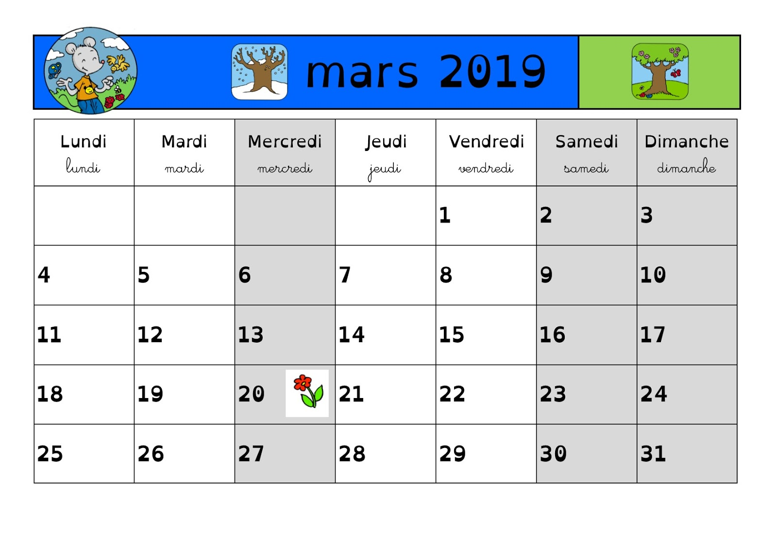 en classe avec ludo calendrier 2018 2019 p riode 4 mars avril. Black Bedroom Furniture Sets. Home Design Ideas