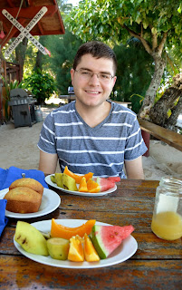 rarotonga breakfast with fresh fruit watermelon and loaf cake