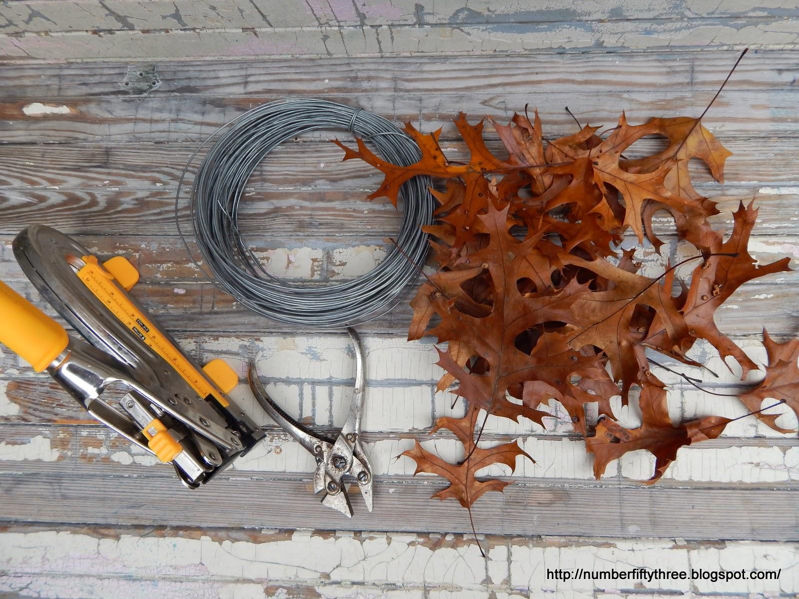 Supplies to ake an oak leaf wreath