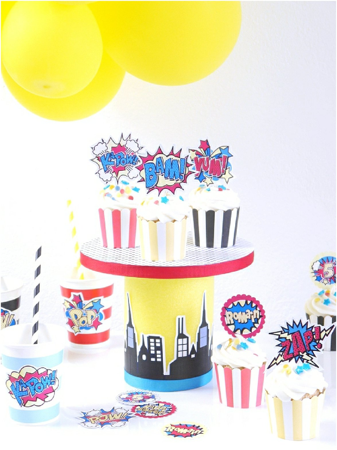 DIY Superhero Birthday Cake Stand