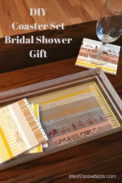 Need a gift for a wishing well? Check out this DIY Coaster Set Bridal Shower Gift from www.abrideonabudget.com.