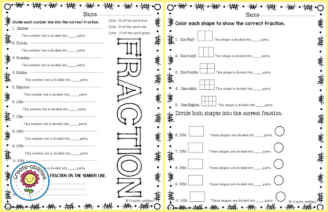 Fractions and Number Lines FREEBIE