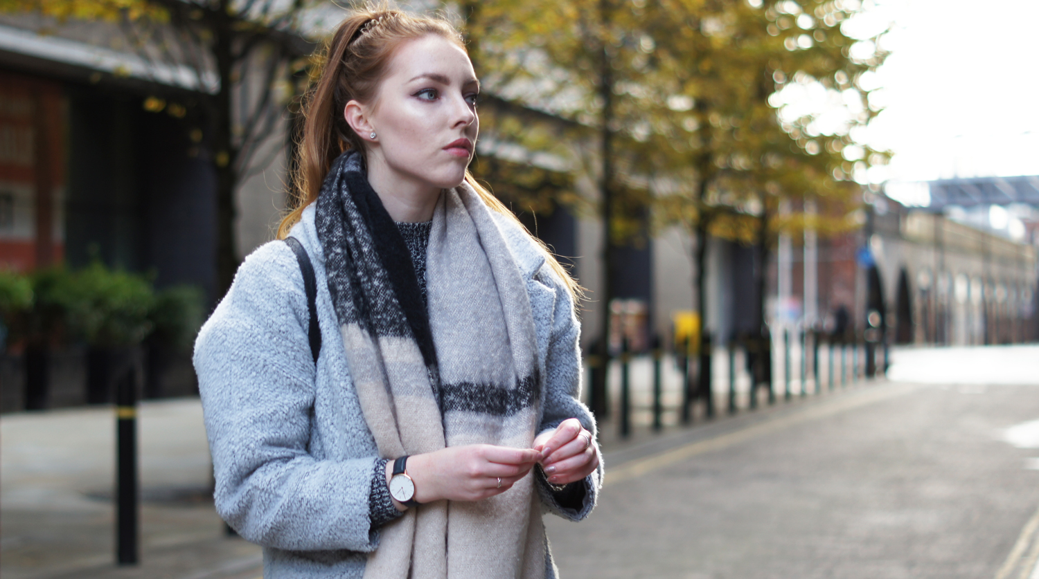 neutral oversized scarf