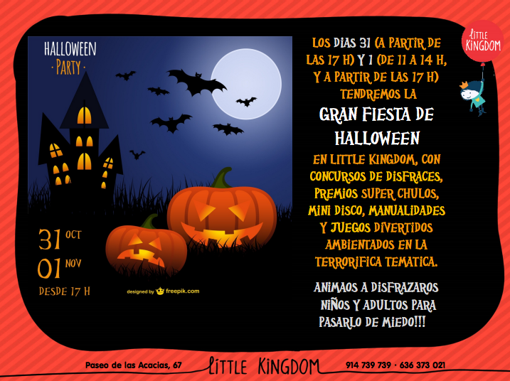 Cartel de fiesta de Halloween en Little Kingdom