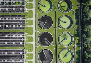 wastewater sewage treatment plant aerial view
