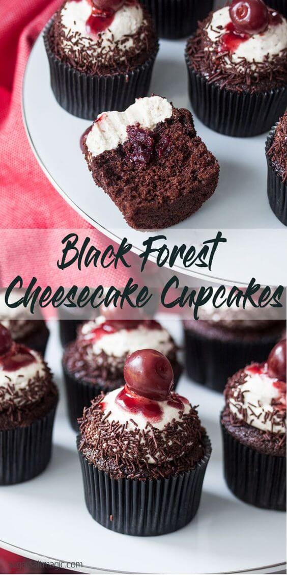 Black Forest Chocolate Cupcakes with Cream Cheese Frosting