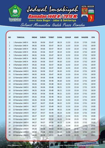 Jadwal Sholat dan Imsakiyah Bogor Kota-Ramadhan 2019-Waktu Maghrib, Waktu Imsak, dan Waktu Shubuh di Wilayah Kota Bogor dan Sekitarnya-Bulan Puasa 2019-1440 Hijriyah.