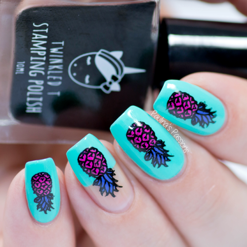 Bright Blue High Fashion Pineapple Nail Art