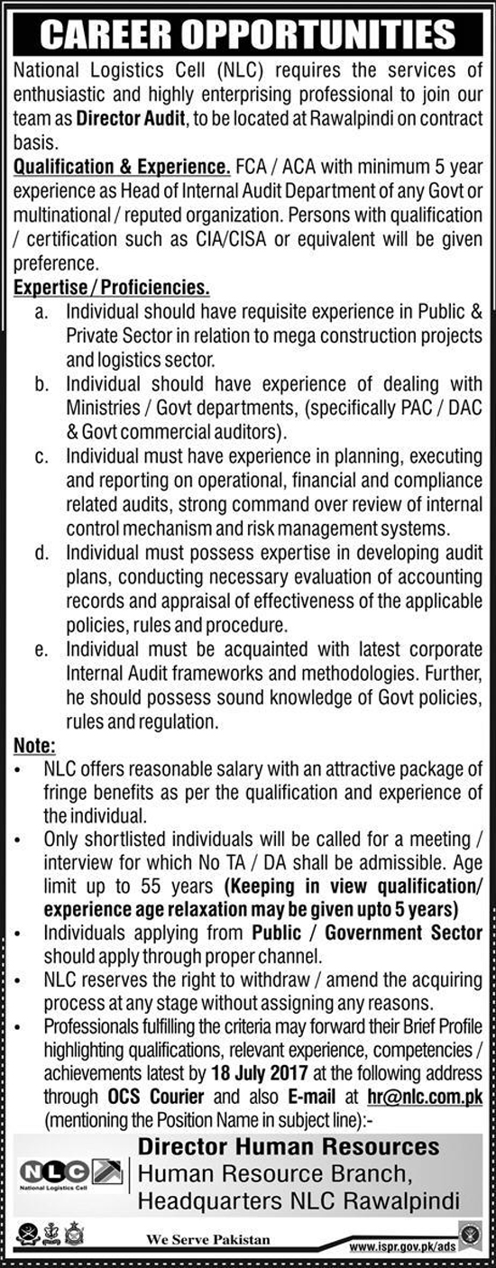 Jobs in Director Audit Jobs in National Logistics Cell Rawalpindi  July 2017
