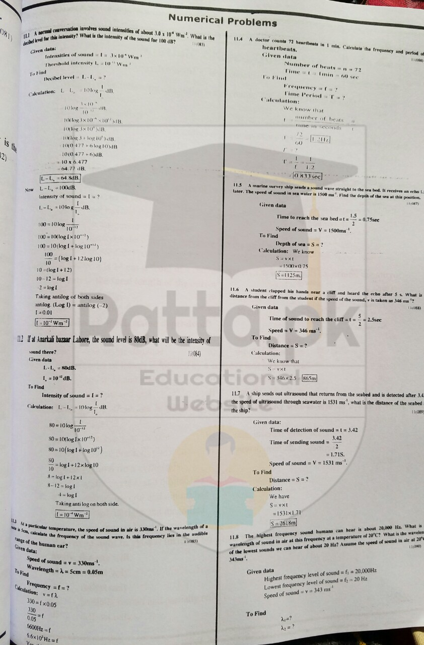 10th Class Physics Chapter 11 Sound Numerical Problems 4
