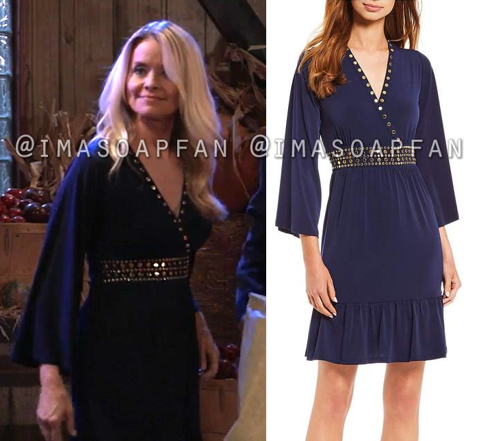 Felicia Scorpio, Kristina Wagner, Studded Navy Blue Dress, General Hospital, GH