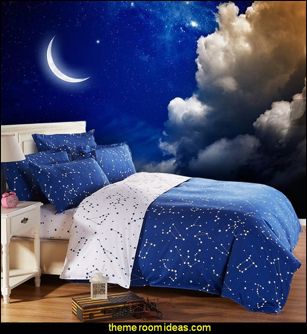 moon in the night sky clouds wallpaper mural  celestial - moon - stars - astrology - galaxy theme decorating ideas - moon stars bedroom ideas - outerspace theme bedrooms - constellation bedding - night sky wall murals - moon stars wallpaper murals - moon stars bedding - star decorations