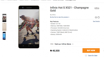 The Infinix Hot S x521 Goes For N45,500 On Juimia