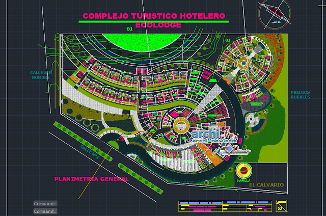 Ecotourism lodge design study in AutoCAD