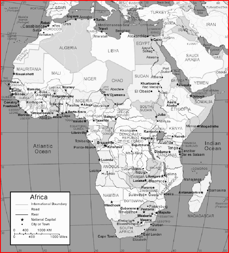 Black and white Africa Map