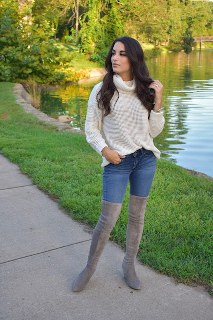 Cowl neck sweater, over the knee boots