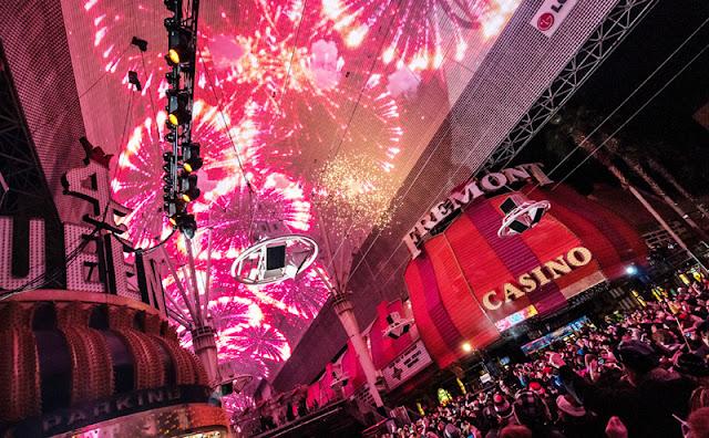 Festa de ano-novo na Fremont Street em Las Vegas