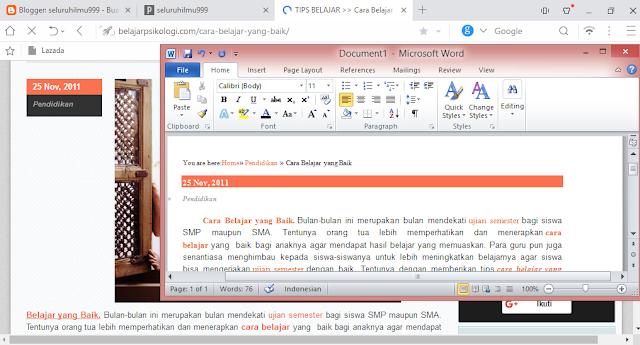 cara copy paste tulisan dari blog ke word agar tidak berantakan atau tidak rusak