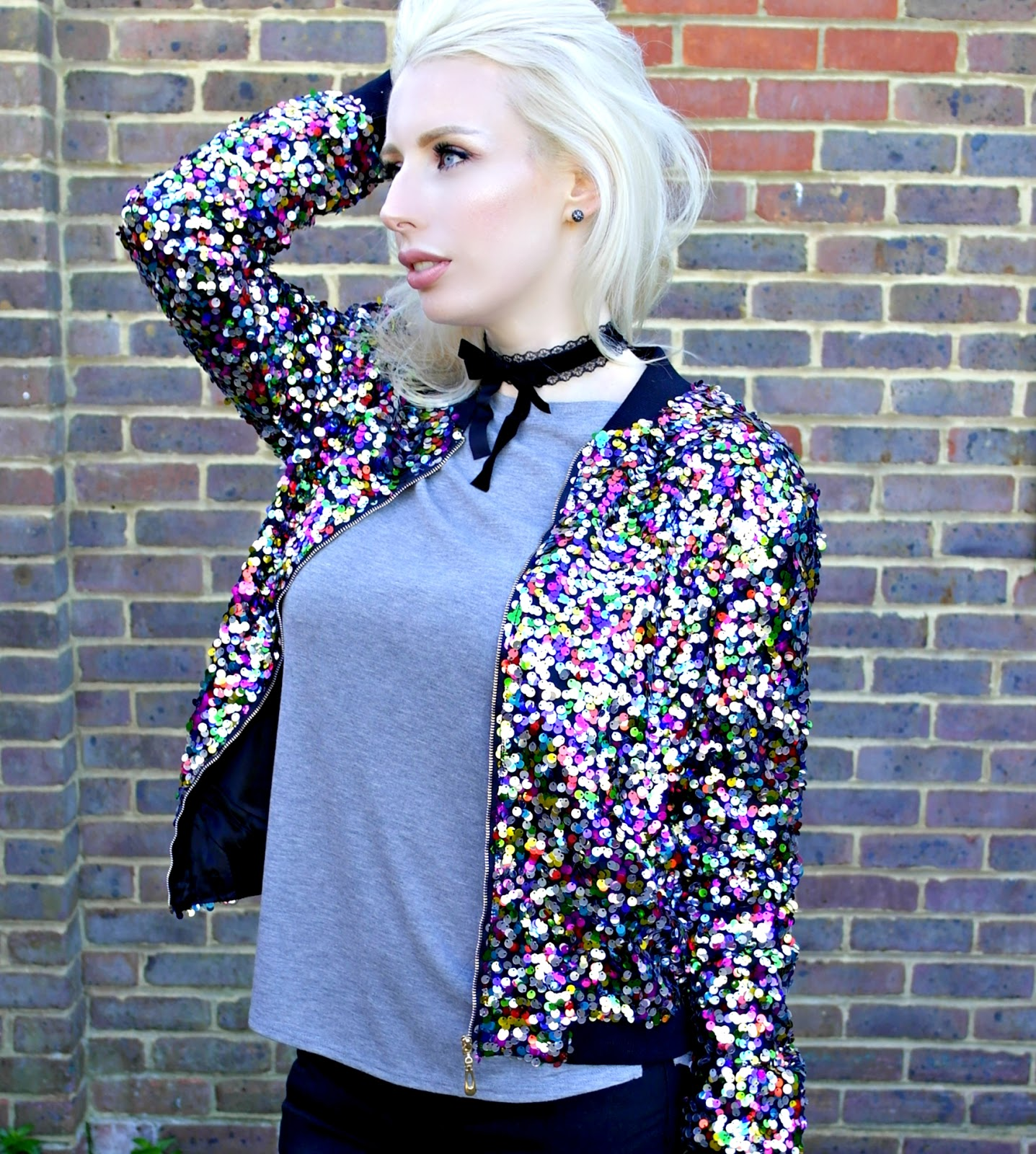 BooHoo Multicoloured Sequined Bomber Jacket