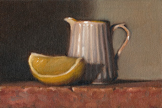 Still life oil painting of a fluted white porcelain jug beside a lemon quarter.