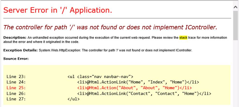 MVC: The controller for path '/' was not found or does not