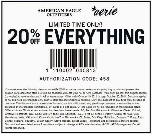 American Eagle Printable Coupons May 2018