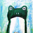 "New Painting. ""Frog Falls and Meditation Cat"" 50cmx30cm Acrylic on canvas"