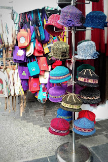 hat stand at the market