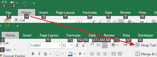 Shortcut Ribbon Excel