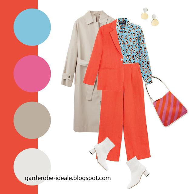 Красно-оранжевый брючный костюм с леопардовой бирюзовой блузкой
