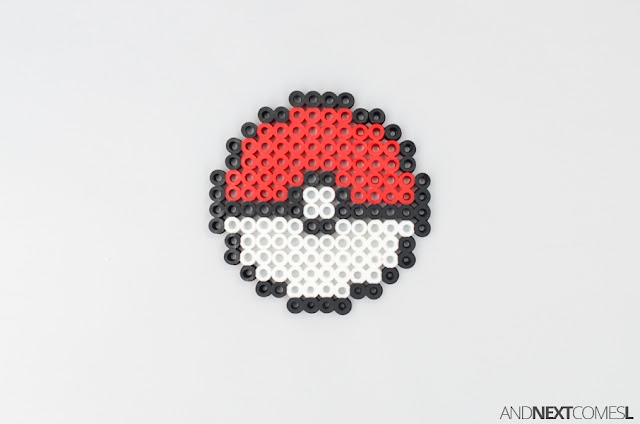 Pokeball perler bead craft for kids from And Next Comes L