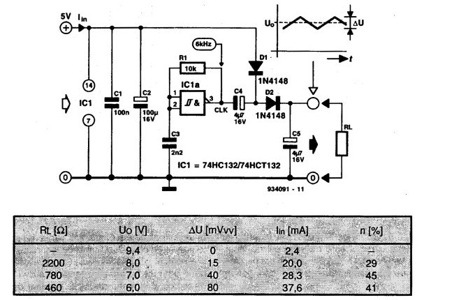 DC Voltage Doubler using the 74HC132 Circuit Diagram ...