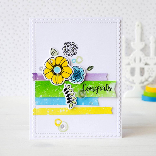 Bling it On stamp set, Pretty Posies stamp set and Die-namics - Olga Podabaeva #mftstamps