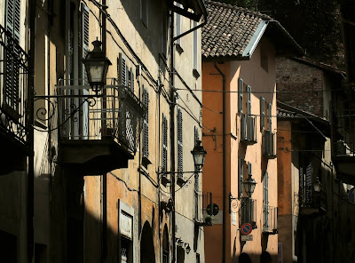 Old houses in the borgo antico of Saluzzo, Piedmont.