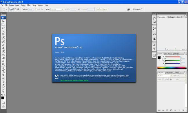 Giao diện Photoshop CS3