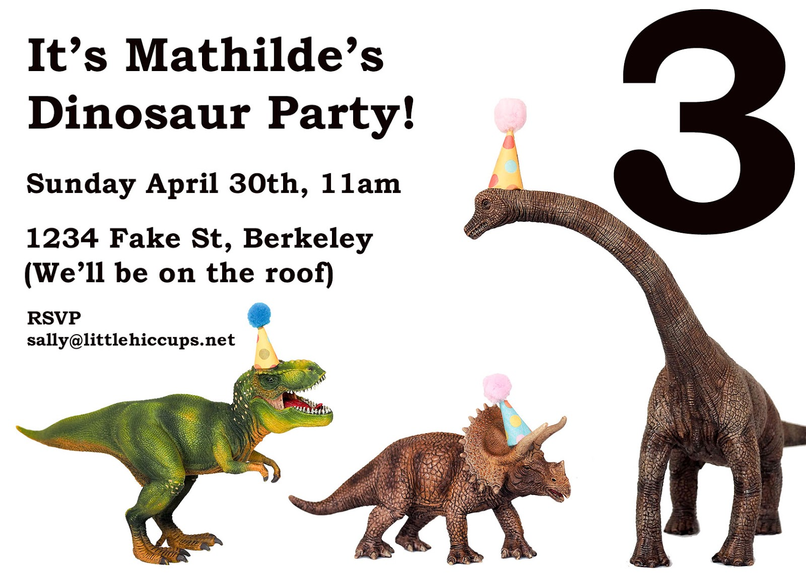 Little Hiccups: Dinosaur Party Invites