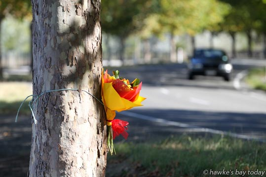 A floral tribute at the scene of a fatal crash (09 January 2015) in Waimarama Rd, Havelock North. photograph