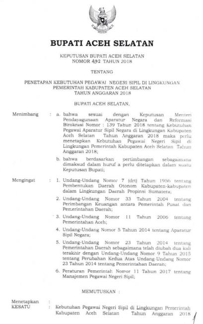Formasi CPNS Kabupaten Aceh Selatan Tahun  FORMASI CPNS KABUPATEN ACEH SELATAN TAHUN 2018