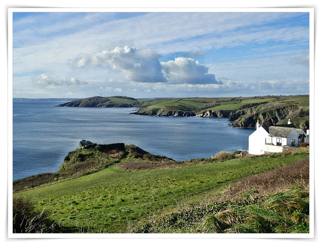 View from St.Saviour, Polruan, Cornwall of sea and cliffs